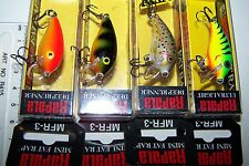 RAPALA LURES LOT OF 4,  MINI FAT RAP  MFR-3   CRANKBAIT.  Bream, Trout, Bass. *