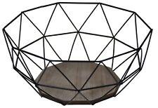 Moderner Obstkorb - Metall Schwarz Holz Design Braun - 26,5x25xH12 cm