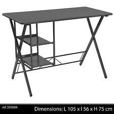 BUREAU METAL NOIR DESIGN 2 ETAGERES  CASIER RANGEMENT NOIR TABLE 944