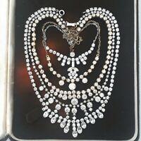 JOB LOT VINTAGE 5X ART DECO SIGNED GLASS AURORA BOREALIS CLEAR SPARKLY NECKLACE