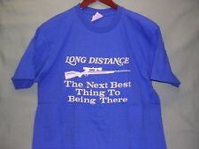 Long Distance Shooter, Hunting Rifle, T-Shirt, Size Large, Bright Blue