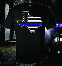 TEXAS THIN BLUE LINE FLAG  POLICE DALLAS LAW ENFORCEMENT T-SHIRT USA PATRIOTIC
