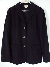 LL Bean Womens Pea Coat Wool Cashmere Classic Satin Lined Jacket Navy Blue 14R