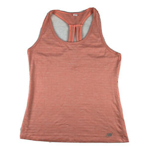 New Balance Women Small Racerback Tank Top Running Stretch Heathered Coral Pink