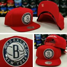 Exclusive New Mitchell and Ness NBA Red Hologram Brooklyn Nets snapback Hat