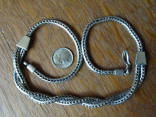 Vintage Indonesia Tribal Sterling Silver Wheat Snake Chain Necklace 17.5 Inch