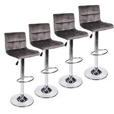 Set Of 4 Bar Stool Velvet Fabric Swivel Hydraulic Adjustable Counter Chair Gray