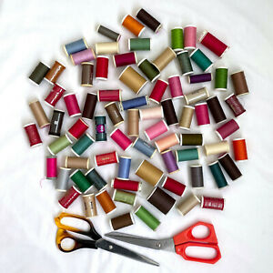 Job Lot Mixed Polyester Sewing Cotton Thread - Coats / Drima and Scissors