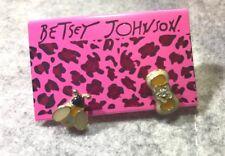 BETSEY JOHNSON DIAMANTE PINK CREAMY BEE BOW EARRING STUD