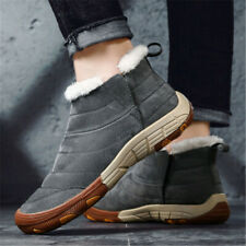 Men's Winter Warm Snow Ankle Boots Antiskid Fur Lined Slip On Shoes Size Outdoor