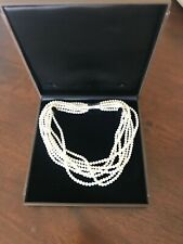 """Platinum Jewelers 8 Pearl Multi Strand 18"""" Necklace Choker Magnet clasp"""