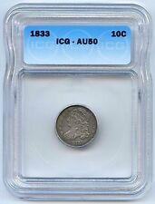 1833 10C Capped Bust Silver Dime. ICG Graded AU 50. Lot #2537