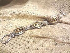 """Soft Silver & Gold Tone Jaguar & Faux Pearl Inset 7"""" Link Bracelet  ~ NEW"""