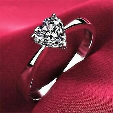 2 Ct Heart Shape Solitaire Engagement Wedding Promise Ring Solid 14k White Gold