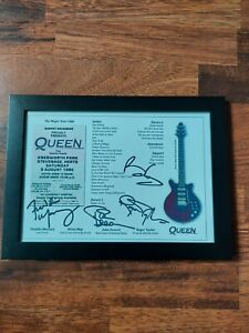QUEEN music band freddie mercury poster Signed Autograph PRINT Gift