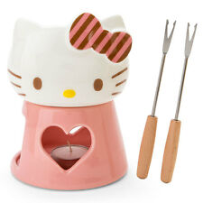 NEW Sanrio Hello Kitty face shaped cheese fondue set dishes japan import