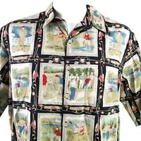 Reyn Spooner XL Golfing History Collage Shirt