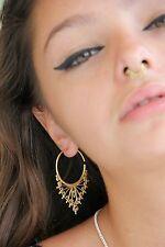 Tribal Earring Brass Vintage Hoop Gypsy Fashion Jewelry Boho Women Hook Gold