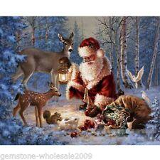 Xmas Art Santa Claus Elk Christmas Canvas Portrait Oil Painting Festival GiftsGW