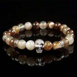 8mm Natural Gemstone Beads Skull Stretchy Reiki Chakra Energy Stone Bracelet
