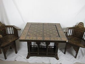"""36"""" Syrian Mosaic HandMade Games Table chess& backgammon& poker set and 2 chairs"""