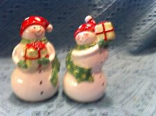 NOS HOLIDAY SNOWMAN HANDPAINTED CERAMIC SALT AND PEPPER SHAKER SET