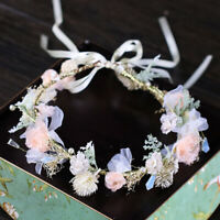 Plastic Flower Garland Wedding Party Ribbon Headband Floral Flower Garland Crown