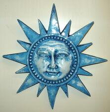 "12"" Blue Vintage Spike Sun Celestial Mask Wall Plaque"