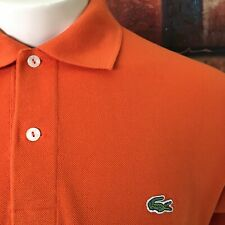 AUTHENTIC LACOSTE Men's S/S Polo Shirt Sz 6 Orange MADE IN FRANCE Cotton EUC..