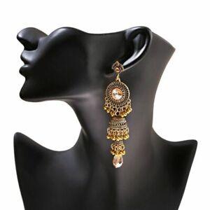 Indian Gold Earrings Vintage Retro Wedding Ear Ring Women Boho Long Bell Jewelry