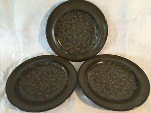 3 FRANCISCAN Madeira earthenware stoneware lunch/salad plates dark brown green