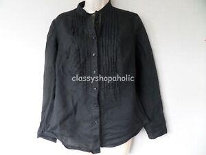 Marks and Spencer Portfolio Black  Linen Shirt /Tunic Top - Size 10