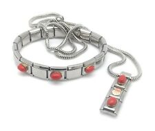 Italian Charm Necklace & Bracelet Stainless Steel Links 18K Stone Enamel Santa