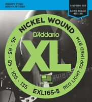 D'Addario Nickel Wound Bass Guitar 5-Strings, Custom Light, 45-135, Long Scale