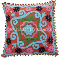 """16"""" Vintage Suzani Embroidered Cushion Cover Indian Ethnic cotton Pillow Cases"""