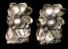 Lovely Vintage Pr Of Metal Philadelphia Mfg Co (Pm) Bookends - Dogwood Flowers