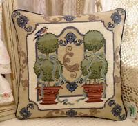 """12"""" Fabulous Vintage Cottage Decor Bonsai Blue Knots Needlepoint Pillow Cover"""