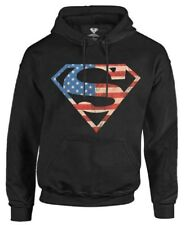 Superman Men's Hoodie Sweatshirt Super Hero DC Comics Star Stripes Warner Bros