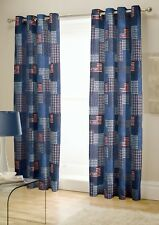 "66"" by 72"" Red, White, Blue Las Vegas Stars & Stripes Fully Lined Eyelet Curtain"