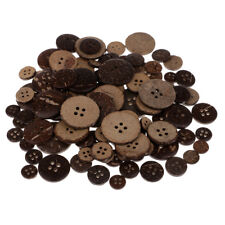 100 Pieces Natural Brown Coconut Buttons 4 Holes for Sewing DIY Crafts