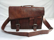 "Mens Vintage Leather Office Briefcase 17"" Laptop Satchel Shoulder Messenger Bag"