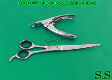 "NEW PET DOG PUPPY GROOMING 9"" SCISSORS SHEARS CURVE BLADE RAZOR SHARP FREE SHIP"