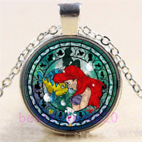 Little Mermaid Photo Cabochon Glass Tibet Silver Chain Pendant Necklace#CU10