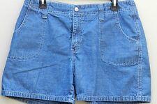 Levis Woman's Size 12 Blue Denim Medium Wash Snap Buttons Casual Walking Shorts
