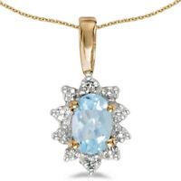 10k Yellow Gold Oval Aquamarine and Diamond Pendant (no chain) (CM-P5055-03)