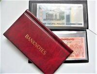 BANKNOTE ALBUM, WALLET STORAGE BOOK ,FOLDER FOR BANKNOTES ( BURGUNDY + free gift