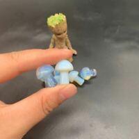 2pc Mini Opalite Mushroom Skull Polished Crystal Healing Pendant Jewelry Making