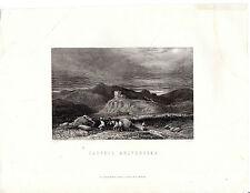 """Antiguo galés Impresiones - """"Dolwyddelan Castle"""" - Radclyffe Grabado (1872)"""
