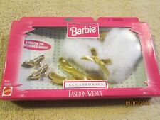 Barbie Fashion Avenue Accessories Gold Gloves Fur Shoes 20963