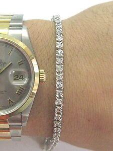 "Fine Round Cut Diamond Tennis Bracelet 4-Prong White Gold 2.08Ct 7"""